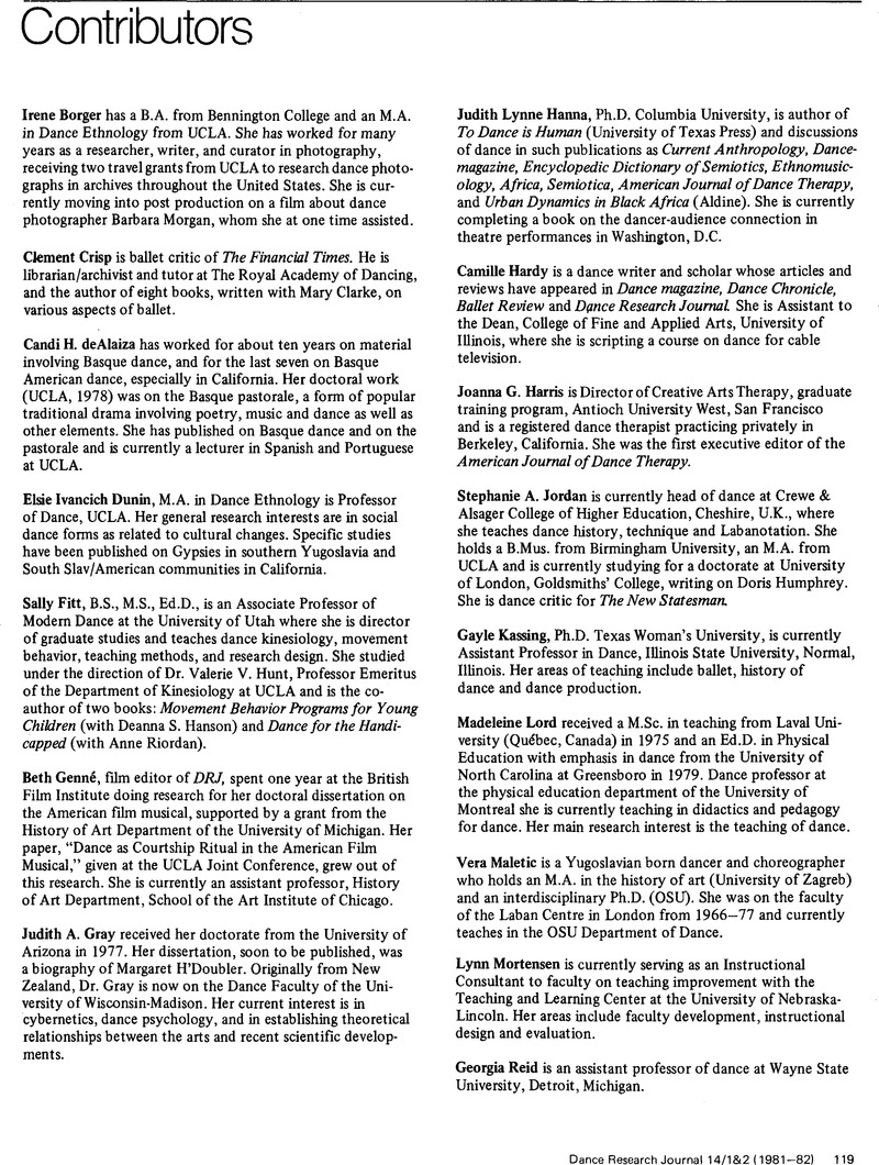 Contributors Dance Research Journal Cambridge Core