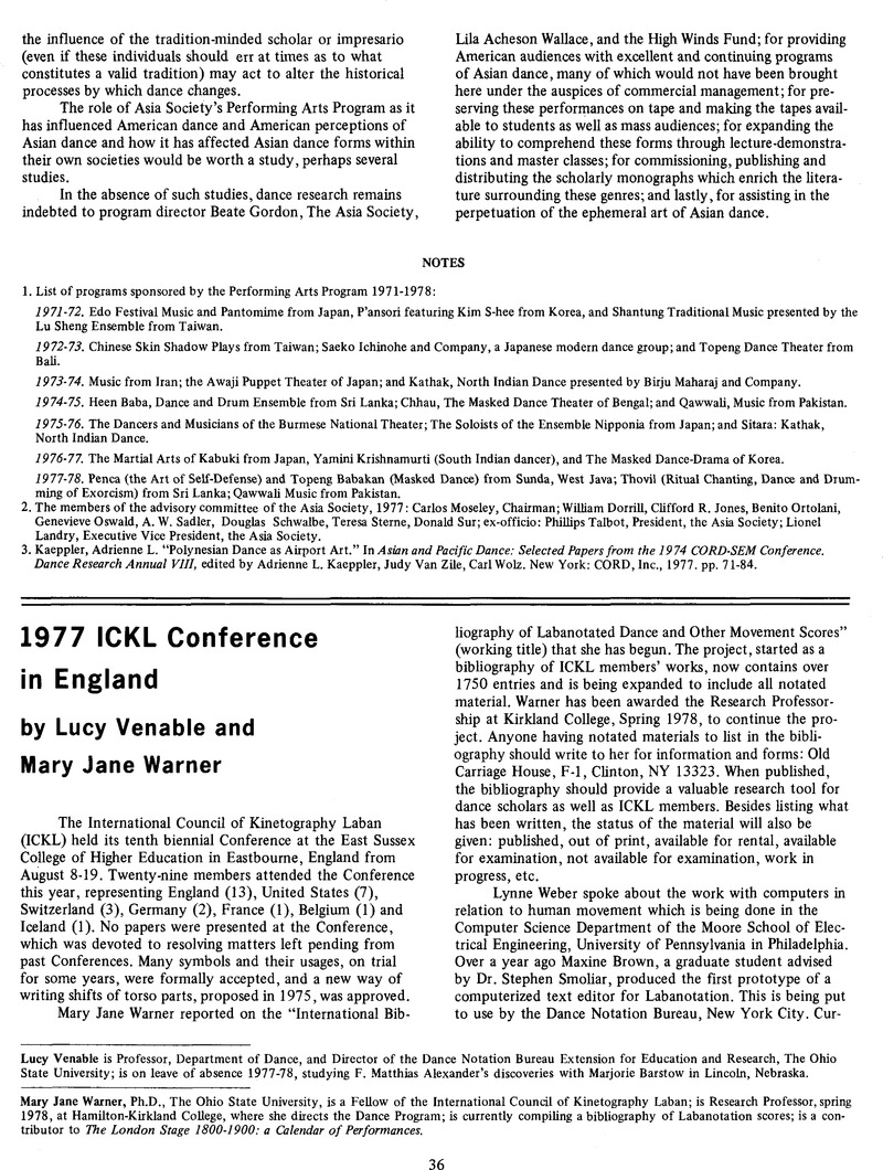 1977 ICKL Conference in England   Dance Research Journal