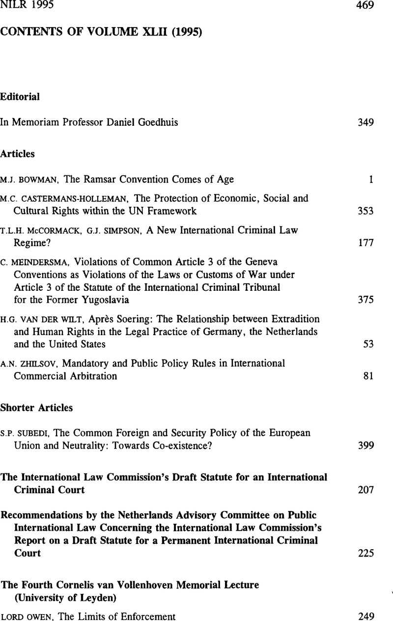 Contents of Volume XLII (1995) | Netherlands International