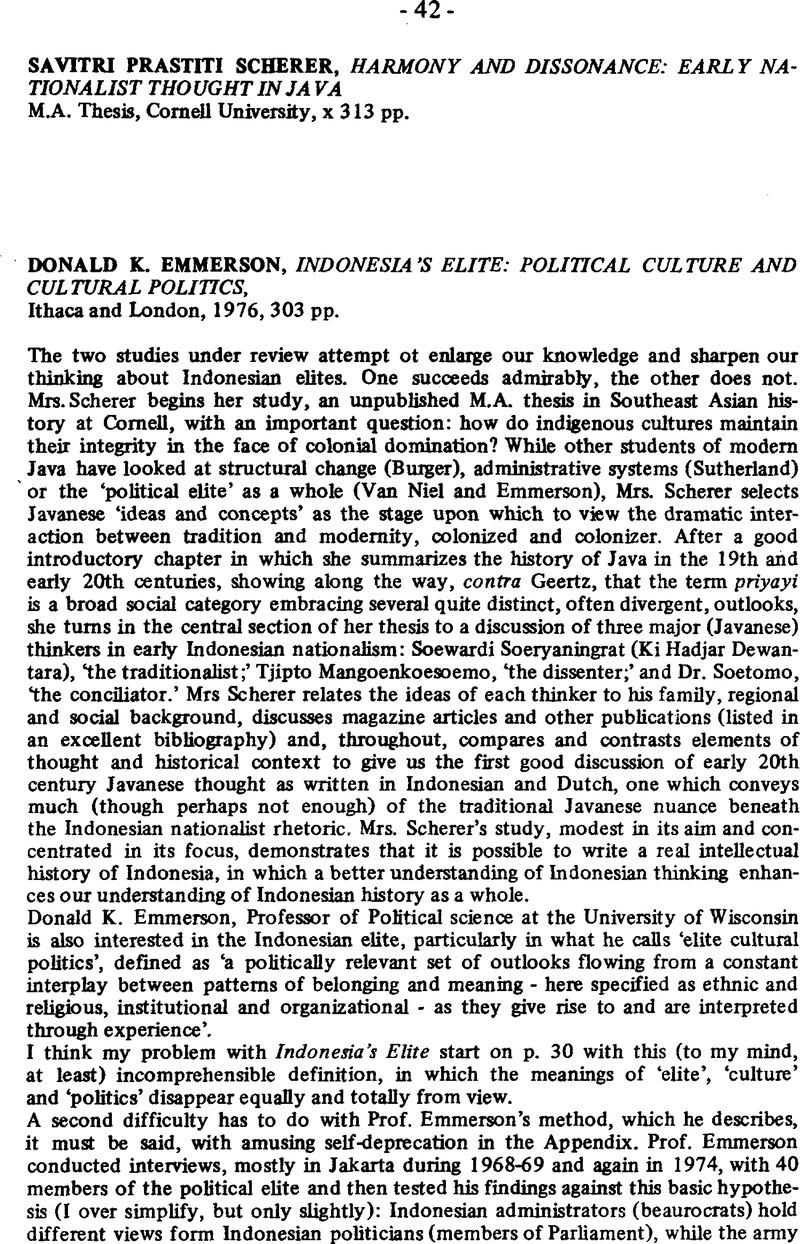 Savitri Prastiti Scherer Harmony And Dissonance Early Nationalist Thought In Java MA Thesis Cornell University X 313 Pp