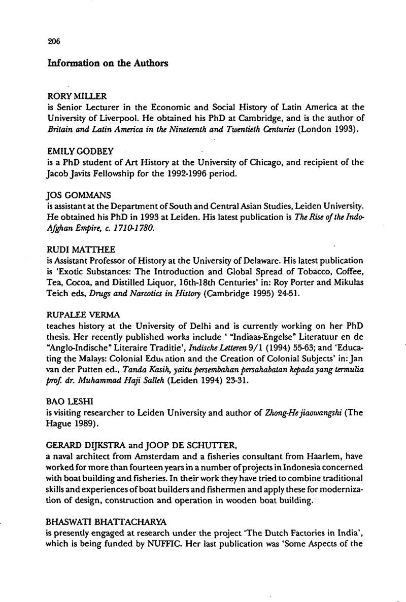 Information on the Authors | Itinerario | Cambridge Core