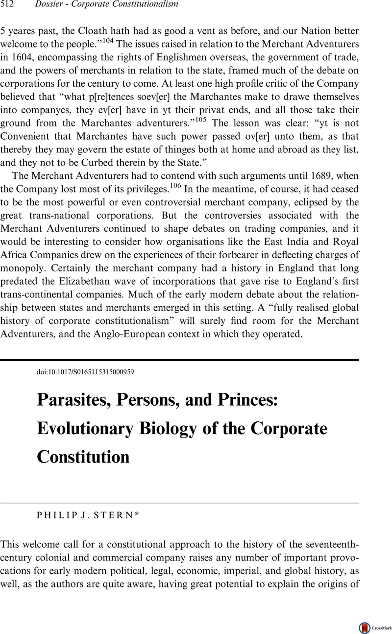 Parasites Persons And Princes Evolutionary Biology Of The Corporate Constitution Itinerario Cambridge Core