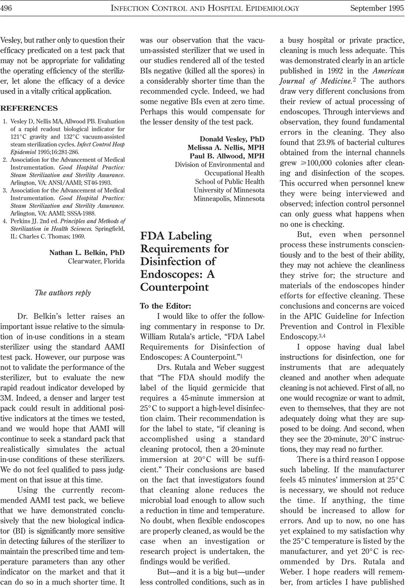 FDA Labeling Requirements for Disinfection of Endoscopes: A