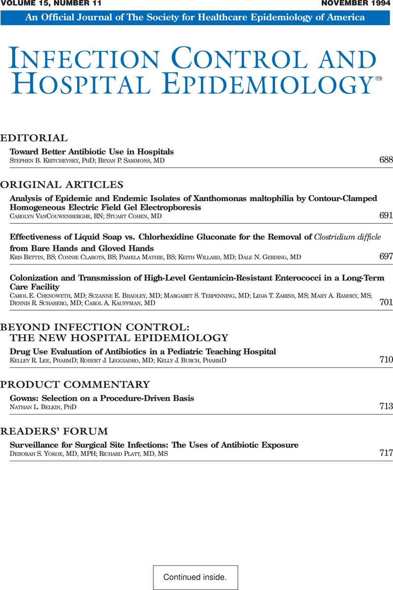 ICE volume 15 issue 11 Front matter   Infection Control