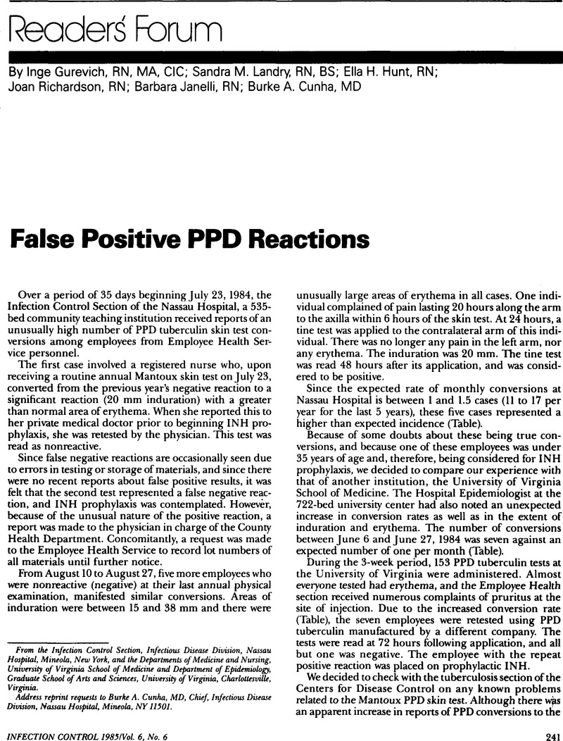 False Positive PPD Reactions | Infection Control & Hospital