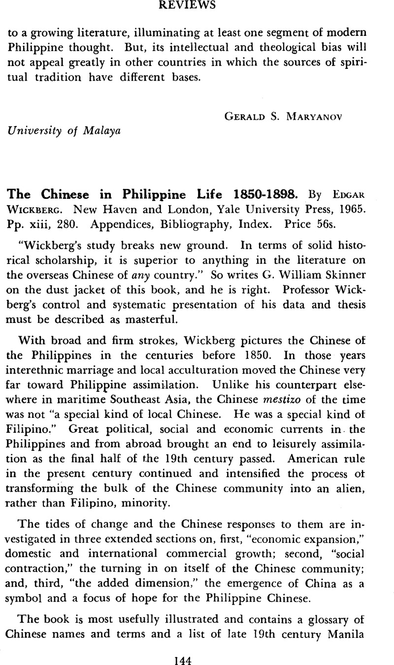 The Chinese In Philippine Life 18501898 By Edgar Wickberg New