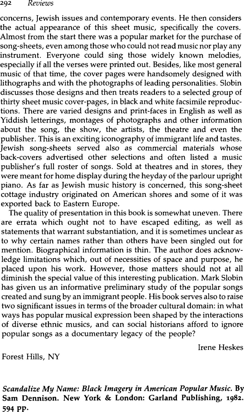 Scandalize My Name: Black Imagery in American Popular Music