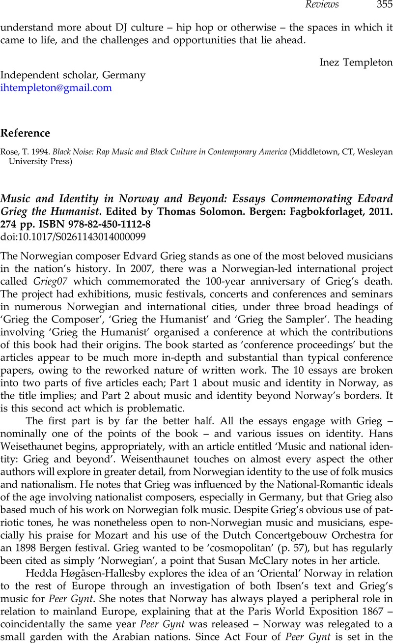 music and identity in and beyond essays commemorating music and identity in and beyond essays commemorating edvard grieg the humanist edited by thomas solomon bergen fagbokforlaget 2011 274 pp