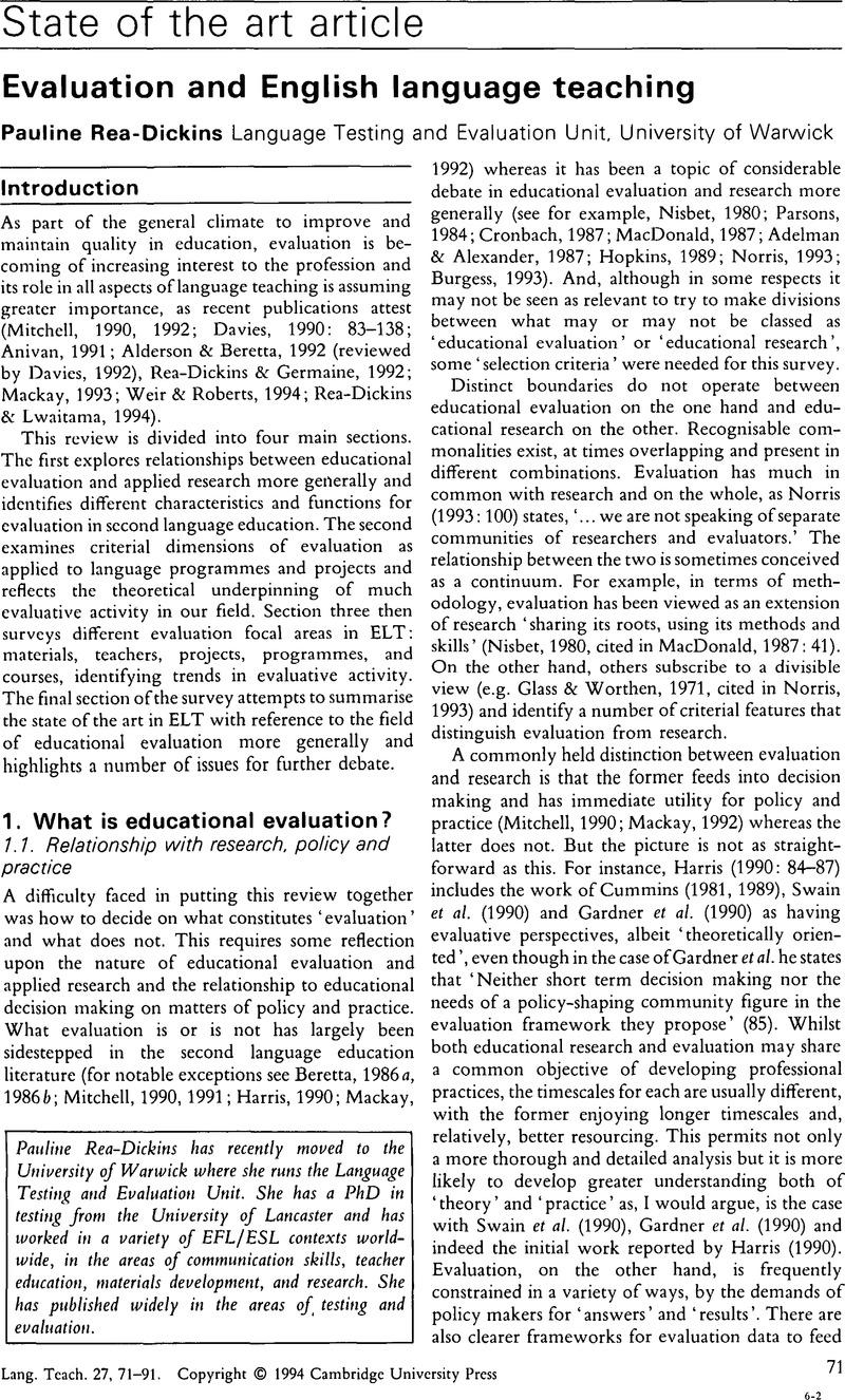 Evaluation And English Language Teaching Language Teaching