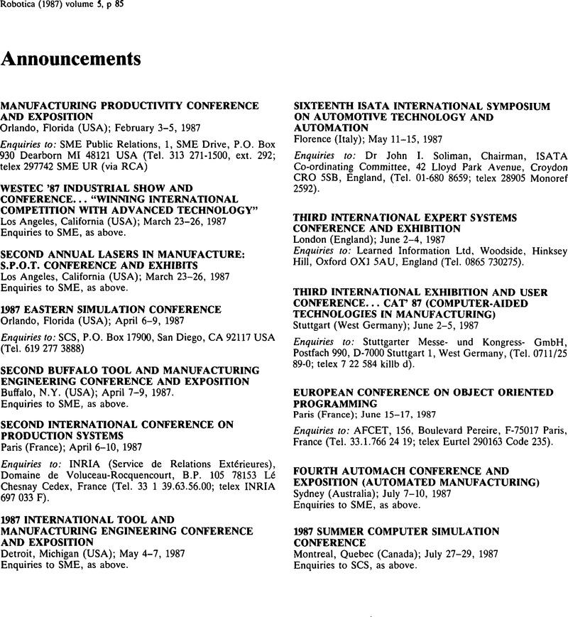 Announcements | Robotica | Cambridge Core