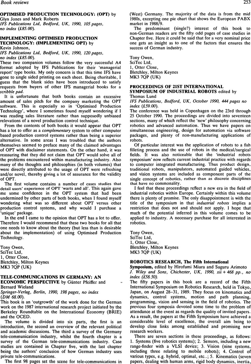 Proceedings Of 21st International Symposium Of Industrial