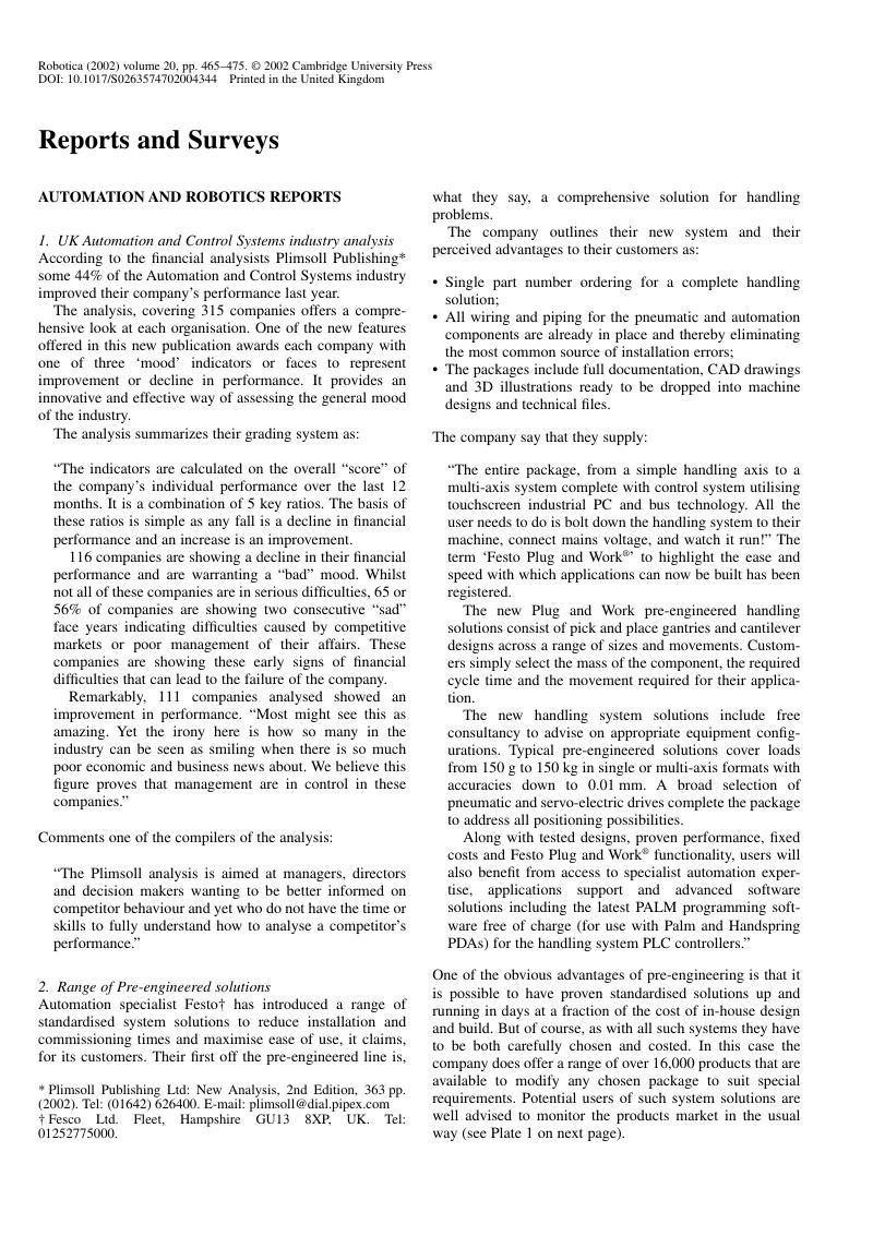 Reports And Surveys Robotica Cambridge Core Complete Wiring Solutions Ltd Copyright
