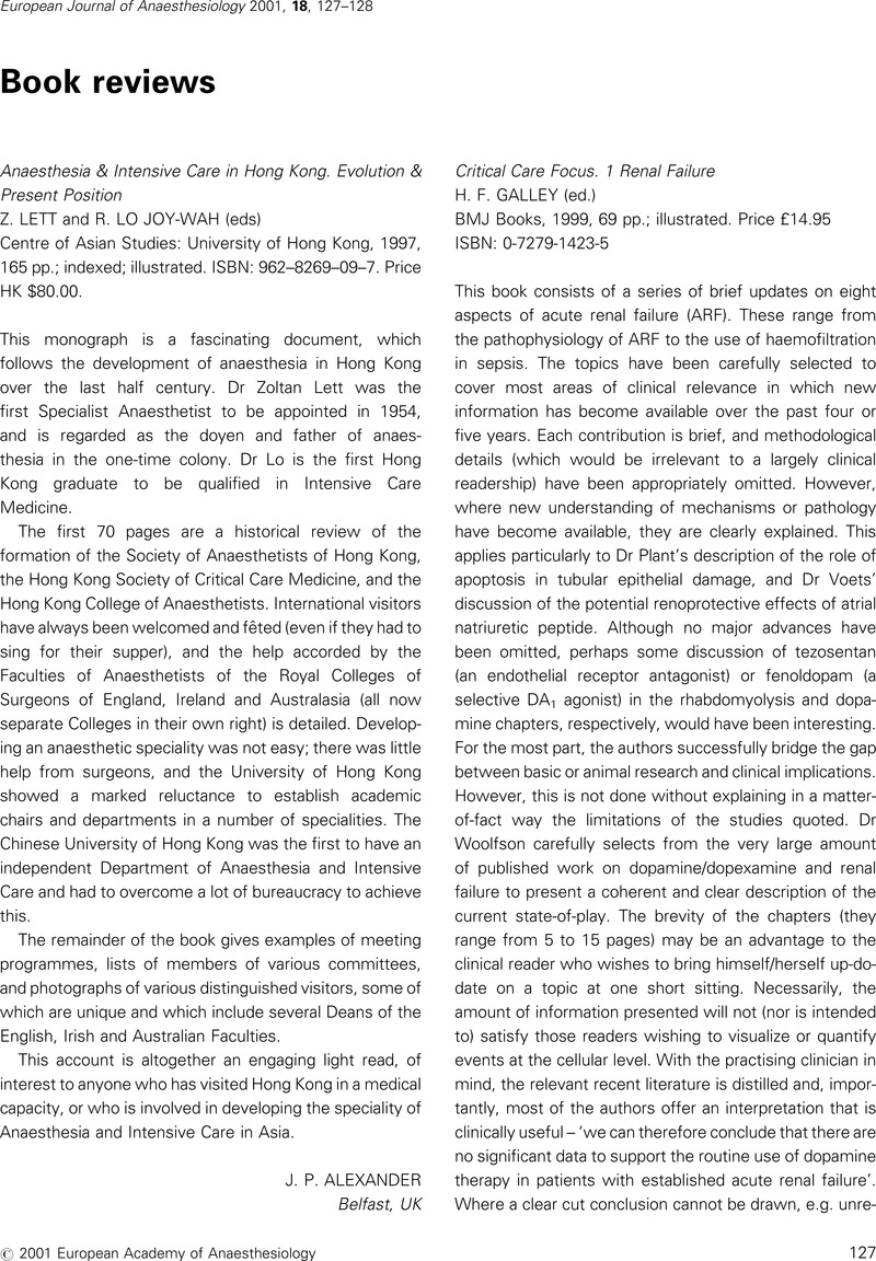 Anaesthesia & Intensive Care in Hong Kong  Evolution