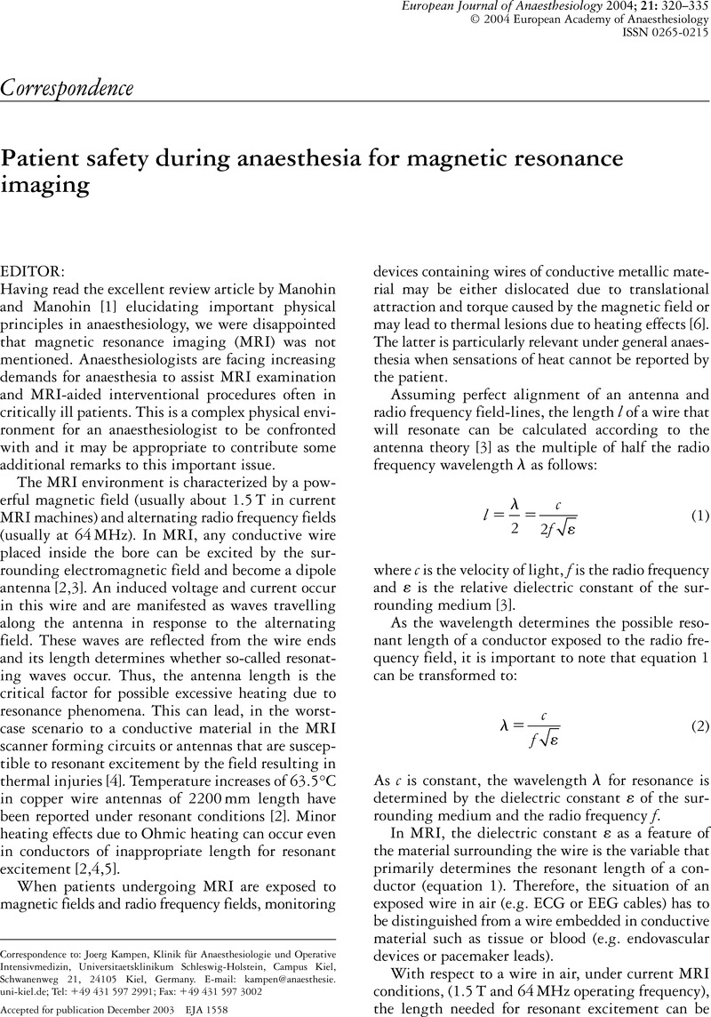 Patient safety during anaesthesia for magnetic resonance