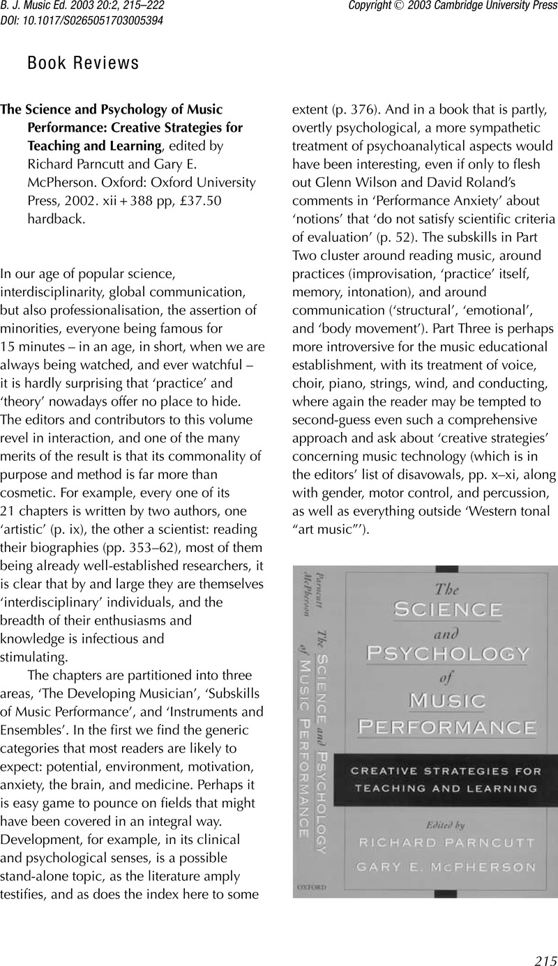 A Very Short Introduction The Psychology of Music