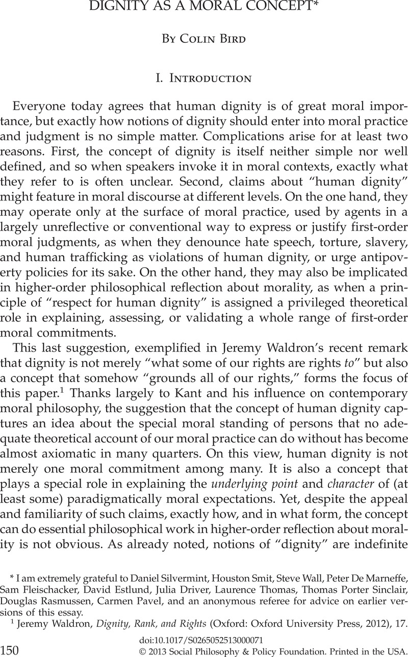 Dignity As A Moral Concept  Social Philosophy And Policy  Dignity As A Moral Concept