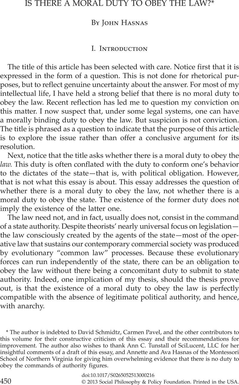 But what do we know about moral duty