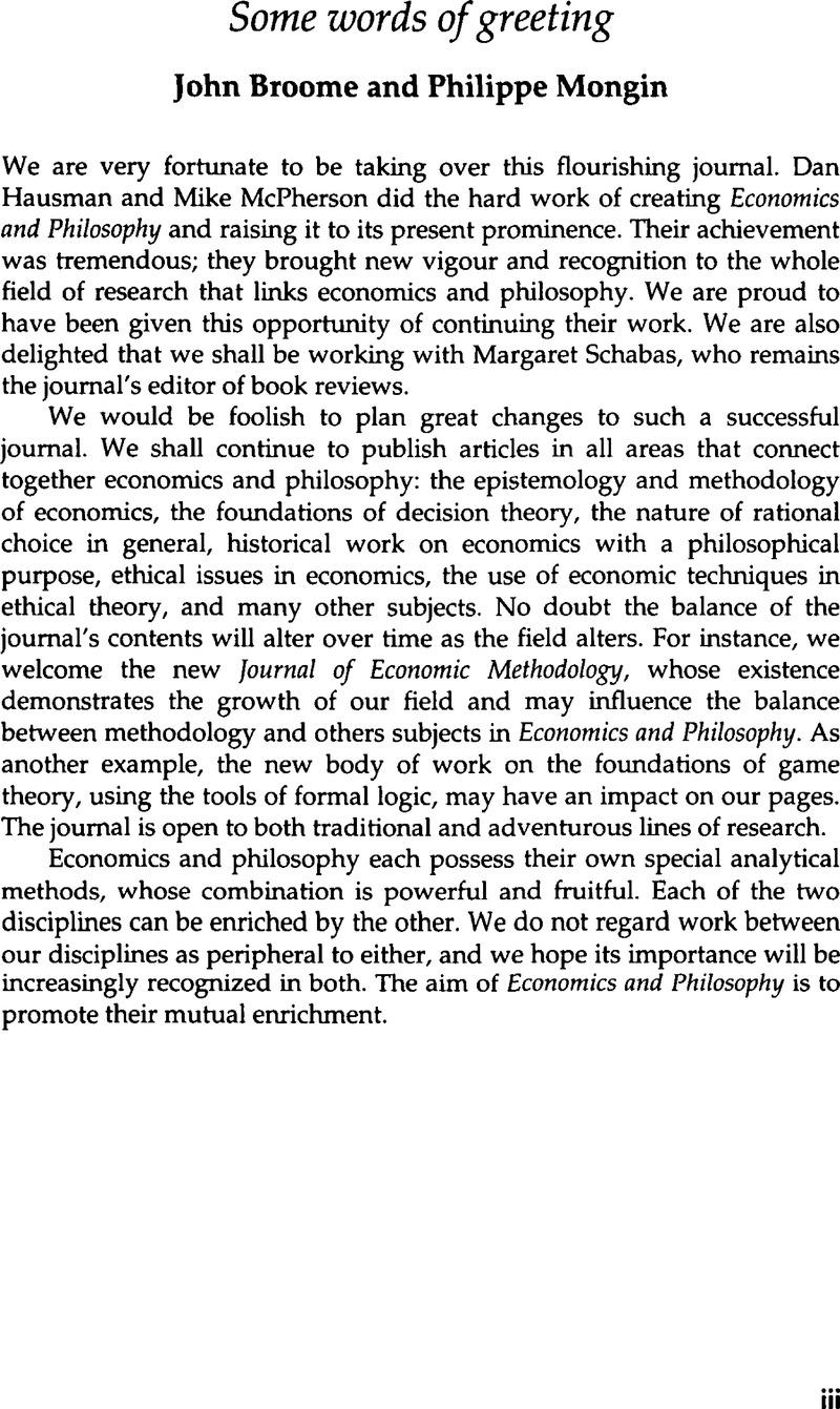 Some Words Of Greeting Economics Philosophy Cambridge Core