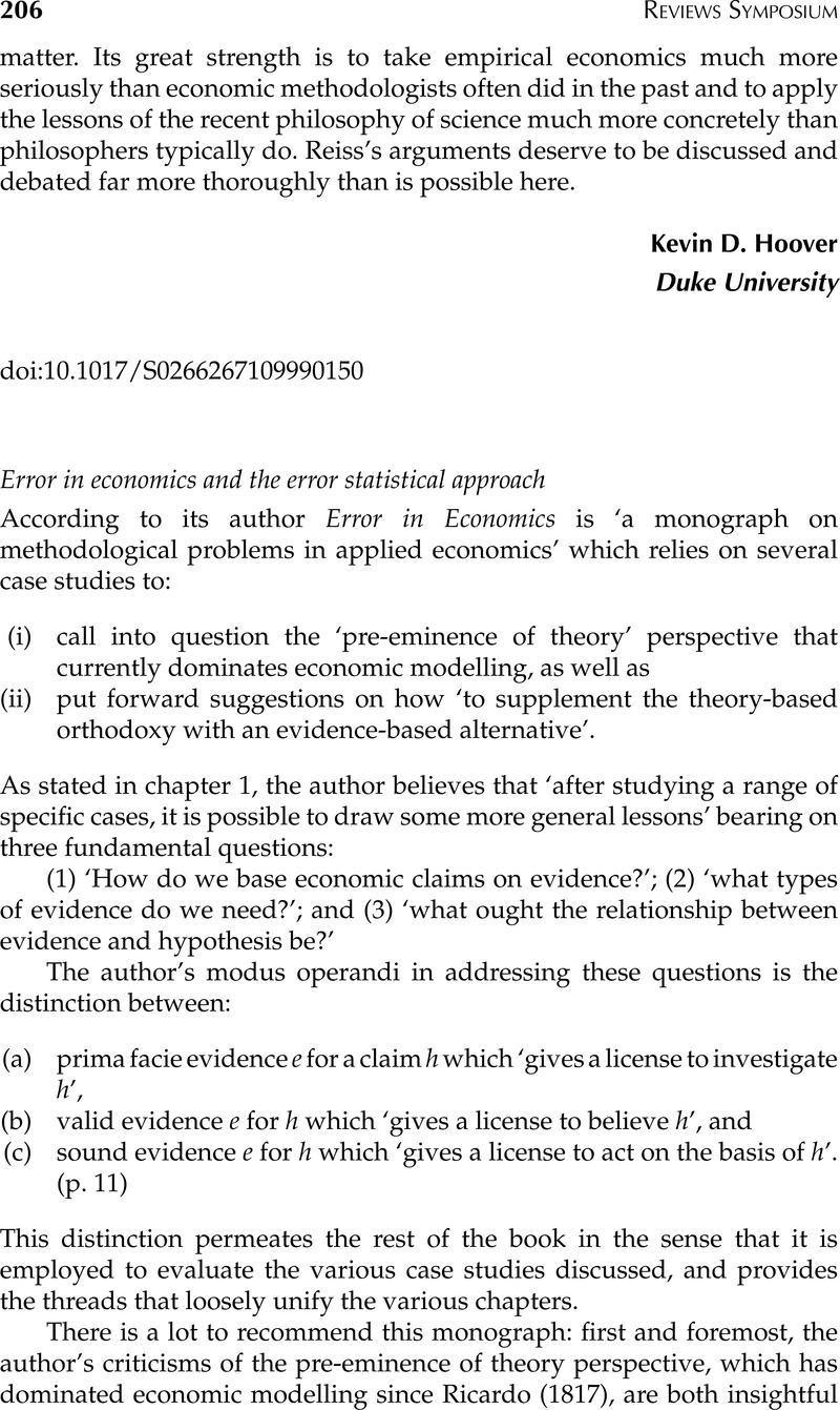 Error in economics and the error statistical approach