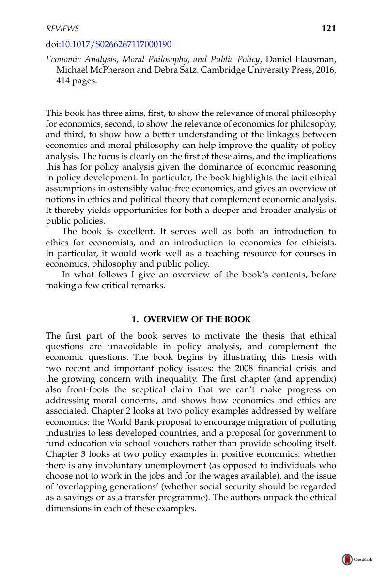 Economic Analysis, Moral Philosophy, and Public Policy, Daniel Hausman ,  Michael McPherson and Debra Satz . Cambridge University Press, 2016, 414  pages.