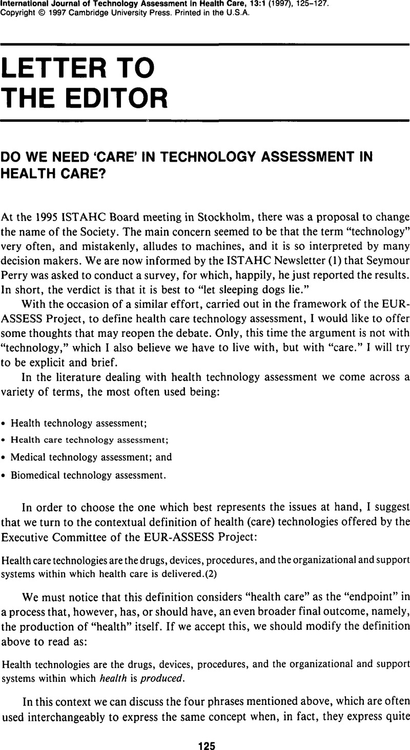 Letter To The Editor International Journal Of Technology Assessment In Health Care Cambridge Core See more ideas about letter assessment, kindergarten assessment, kindergarten reading. letter to the editor international