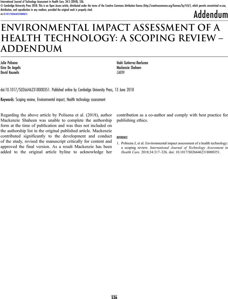 ENVIRONMENTAL IMPACT ASSESSMENT OF A HEALTH TECHNOLOGY: A
