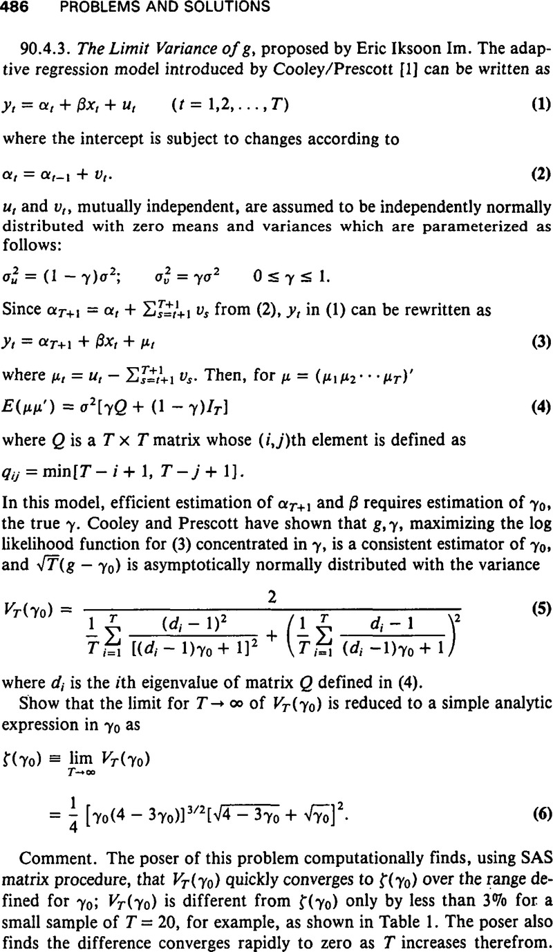 The Limit Variance of g | Econometric Theory | Cambridge Core