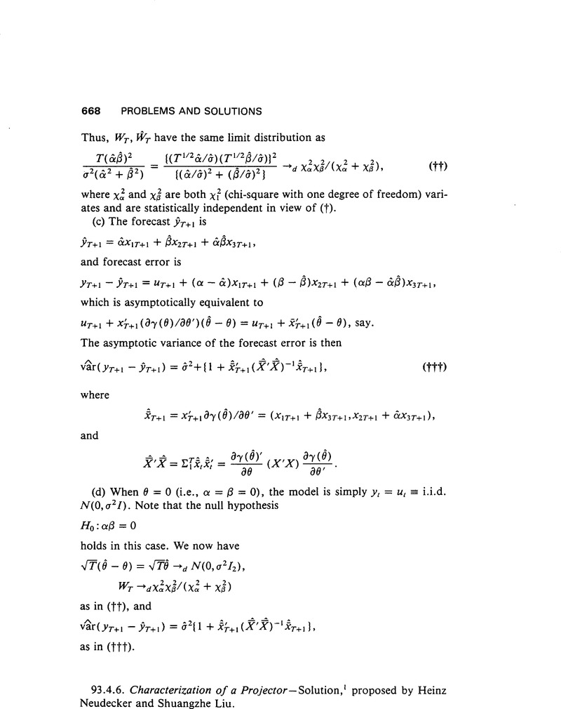 Characterization of a Projector | Econometric Theory