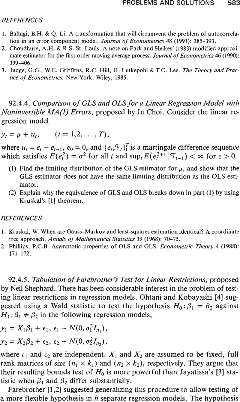 Tabulation of Farebrother's Test for Linear Restrictions