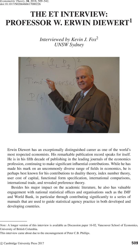 THE ET INTERVIEW: PROFESSOR W  ERWIN DIEWERT | Econometric Theory