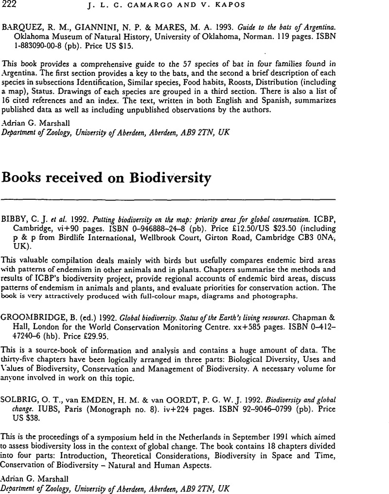 Books received on Biodiversity | Journal of Tropical Ecology