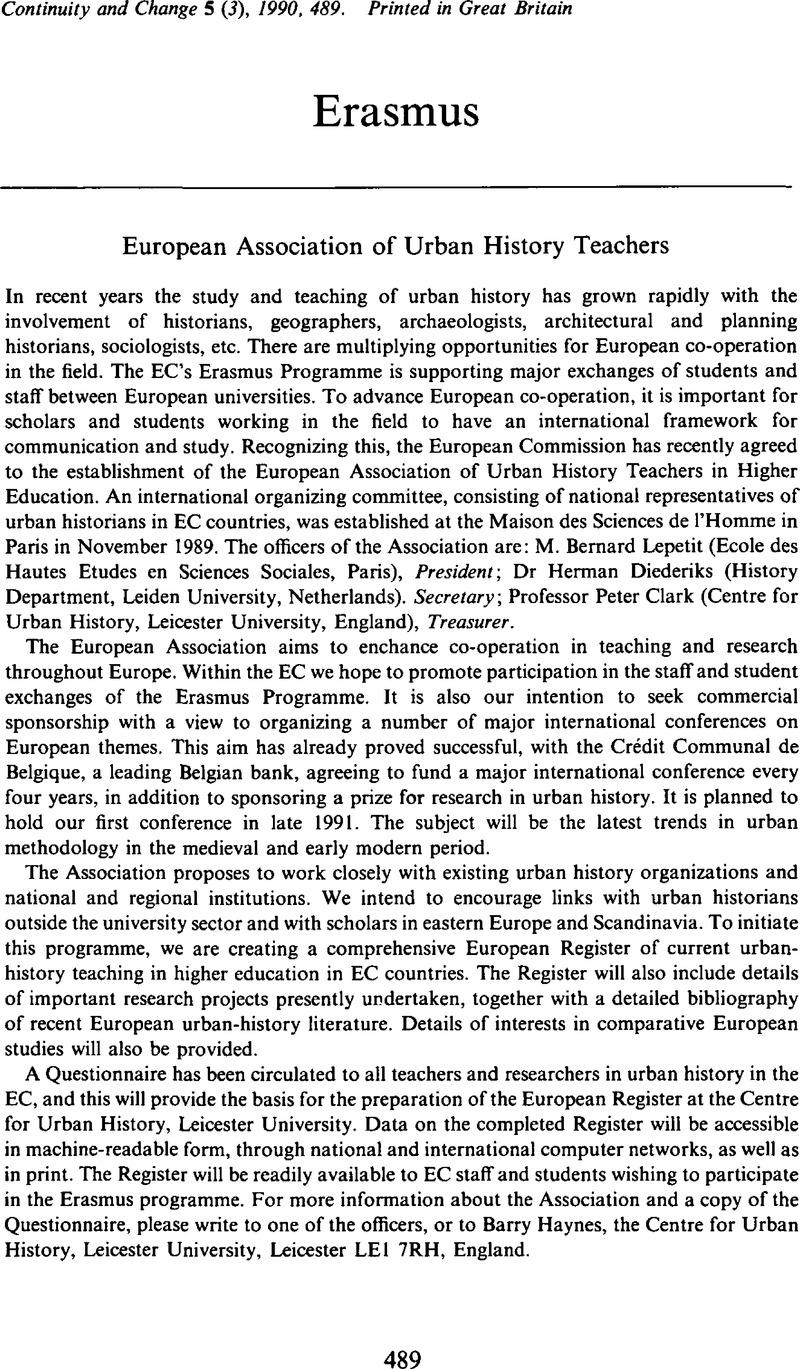 European Association of Urban History Teachers   Continuity