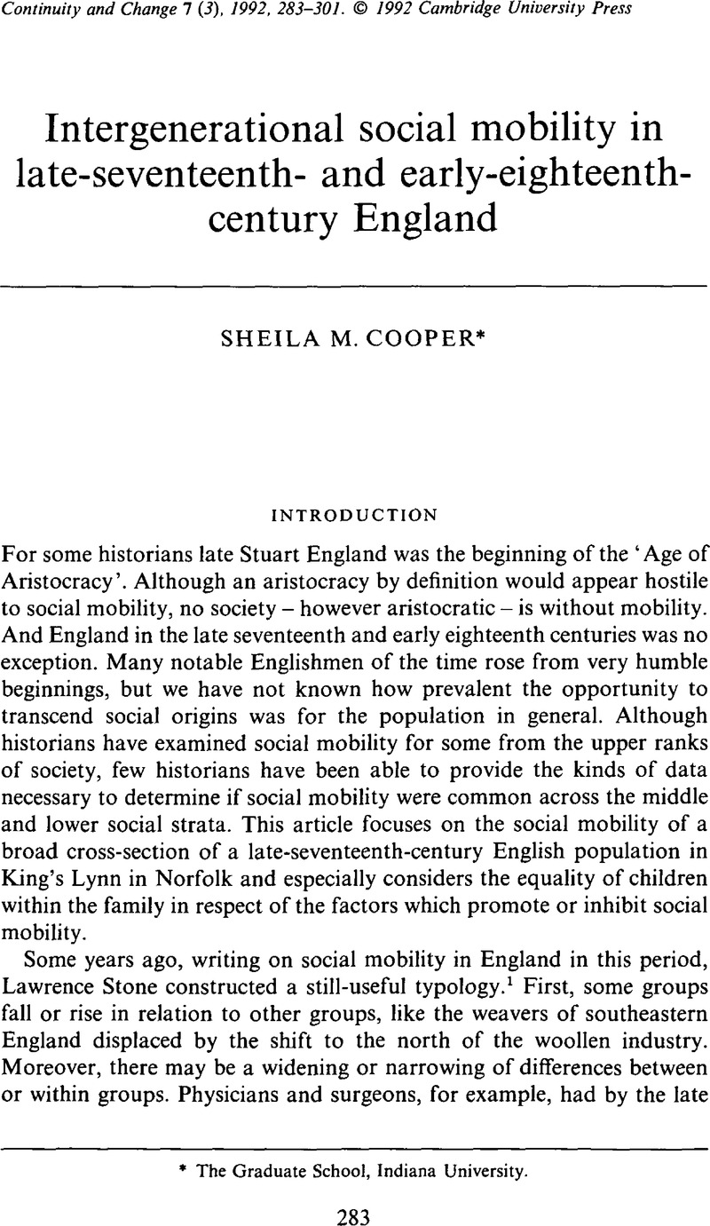 Intergenerational social mobility in late-seventeenth- and