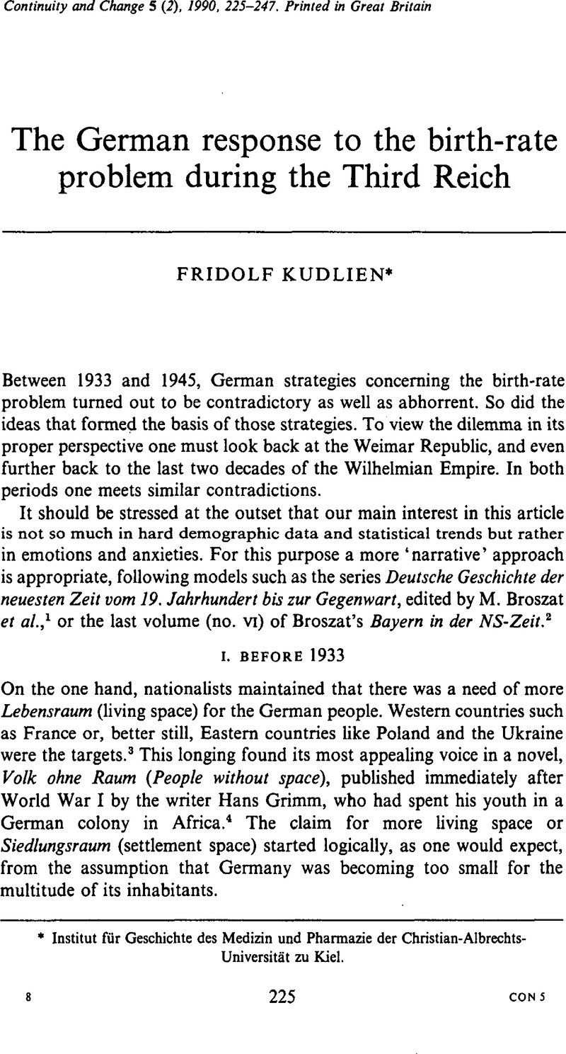 The German Response To The Birth Rate Problem During The Third Reich Continuity And Change Cambridge Core