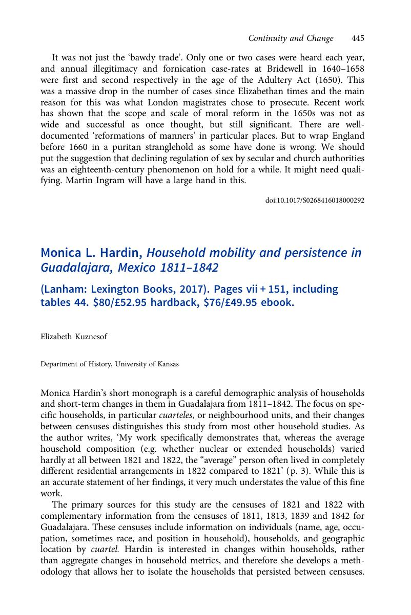 Monica L  Hardin, Household mobility and persistence in