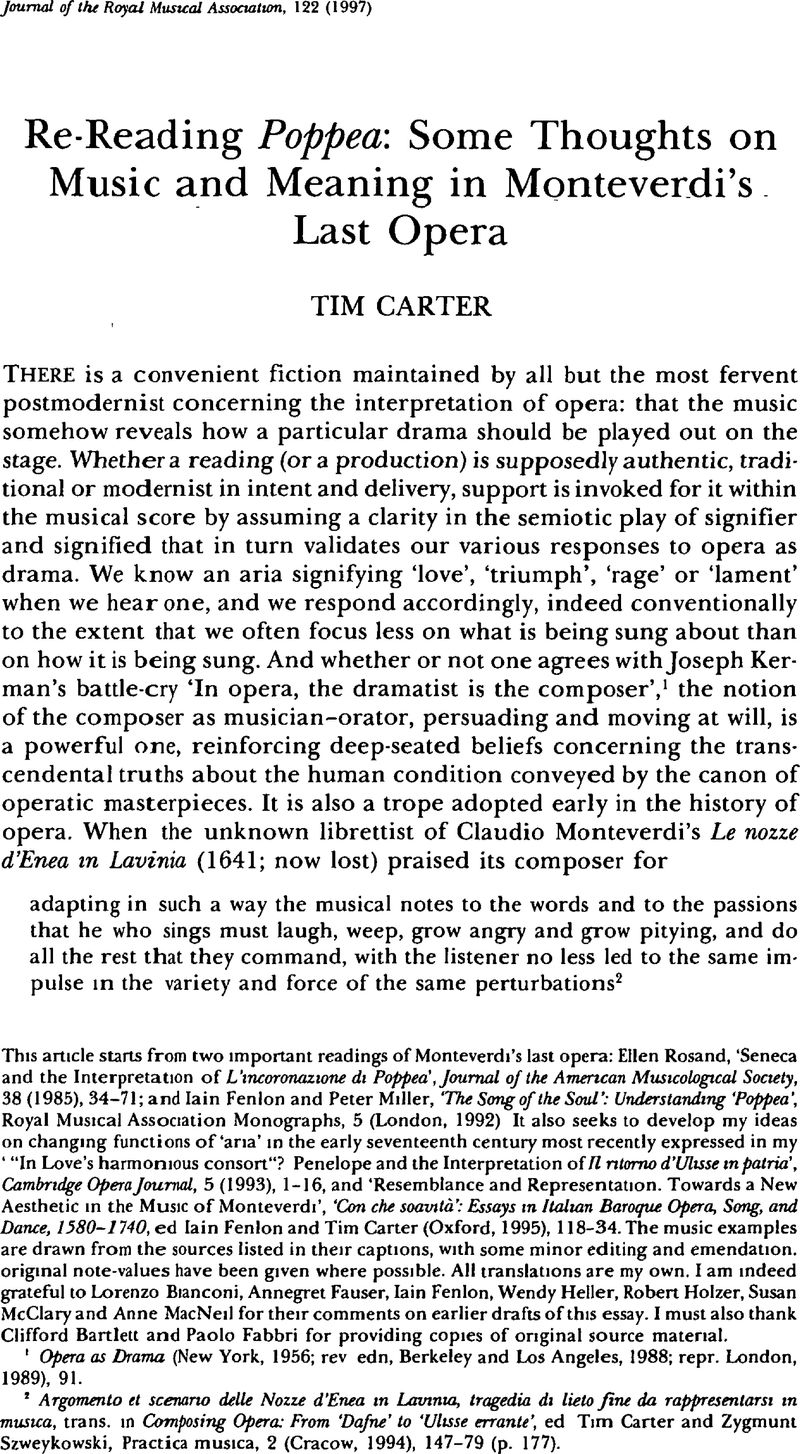 Re Reading Poppea Some Thoughts On Music And Meaning In Monteverdi S Last Opera Journal Of The Royal Musical Association Cambridge Core