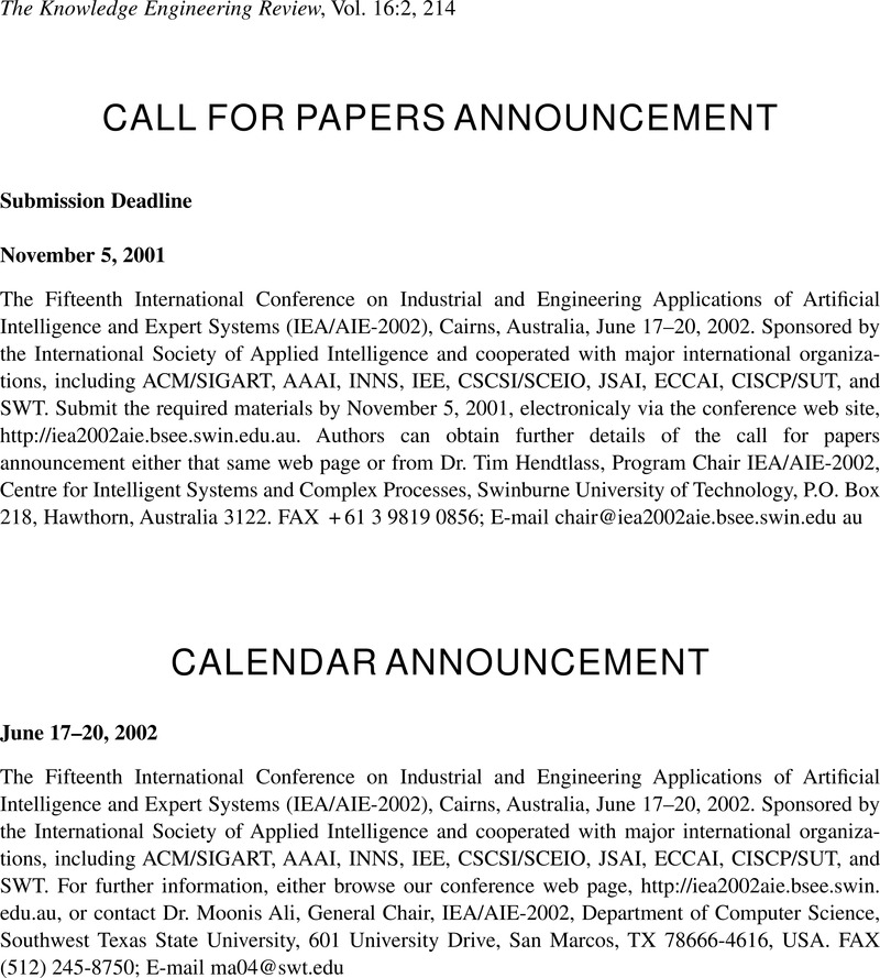 CALL FOR PAPERS ANNOUNCEMENT | The Knowledge Engineering