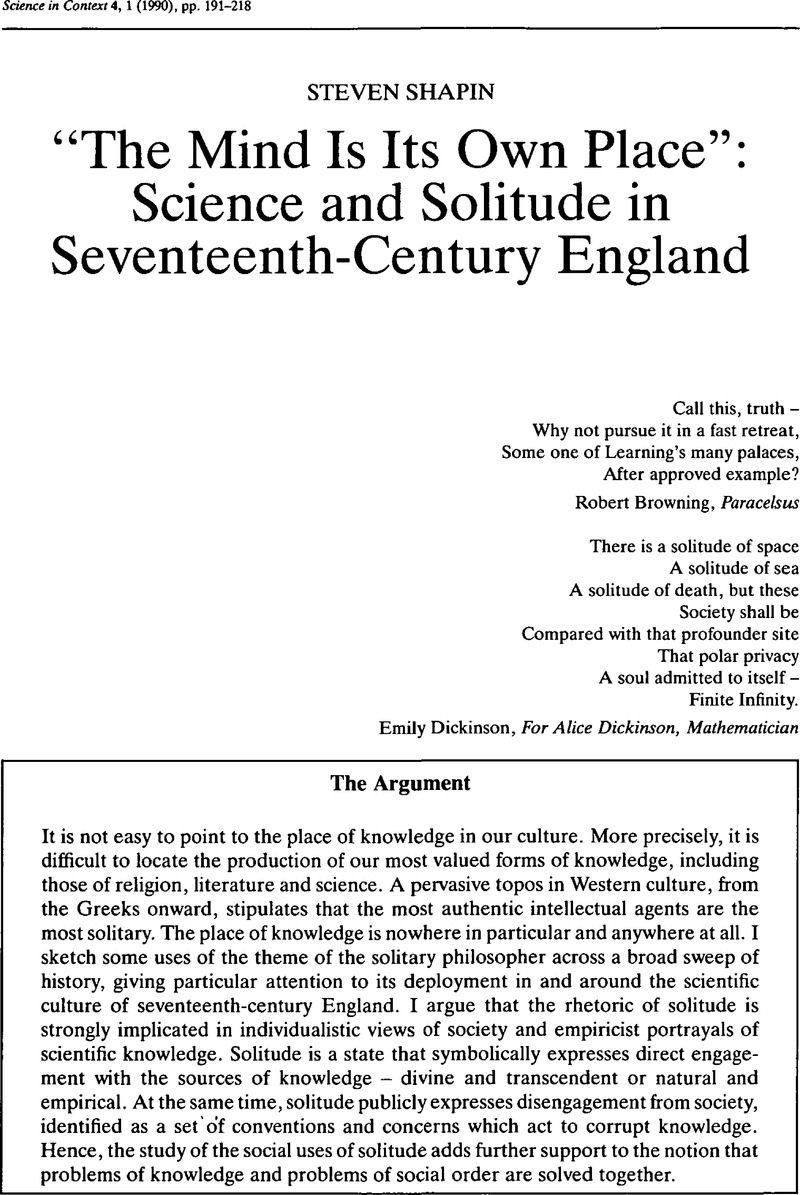 """The Mind Is Its Own Place"": Science and Solitude in Seventeenth-Century  England"