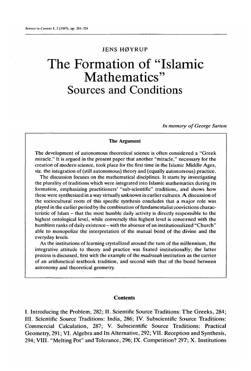 """The Formation of """"Islamic Mathematics"""" Sources and Conditions ..."""