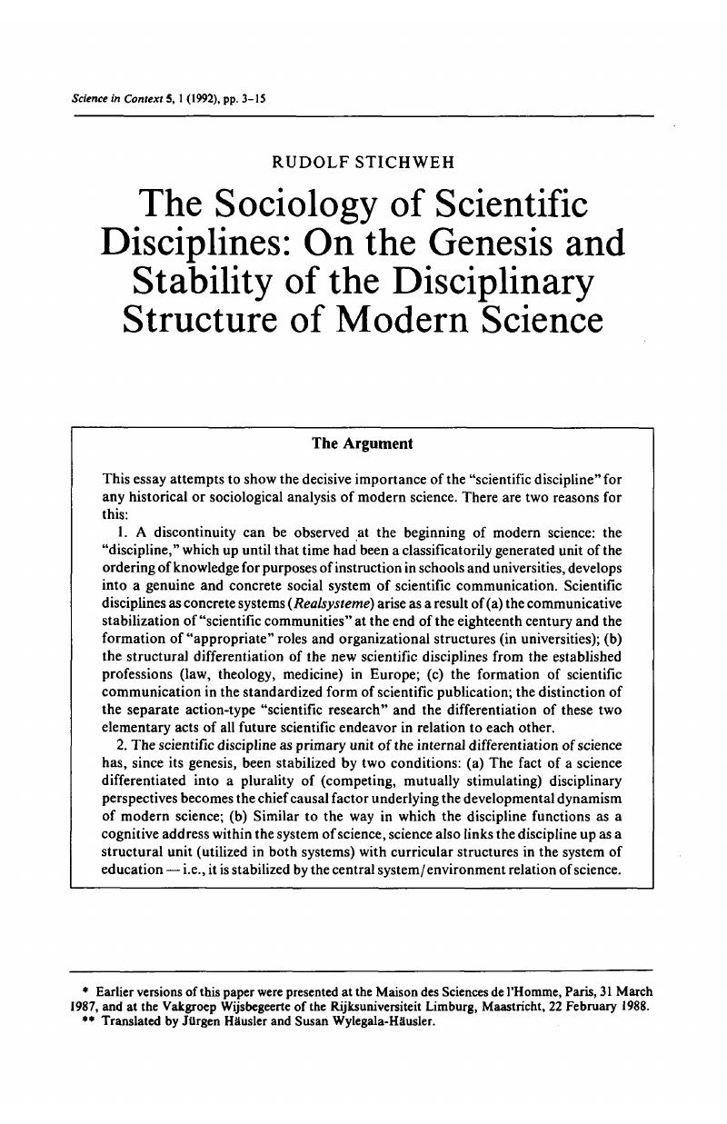 the sociology of scientific disciplines on the genesis and  the sociology of scientific disciplines on the genesis and stability of  the disciplinary structure of modern science
