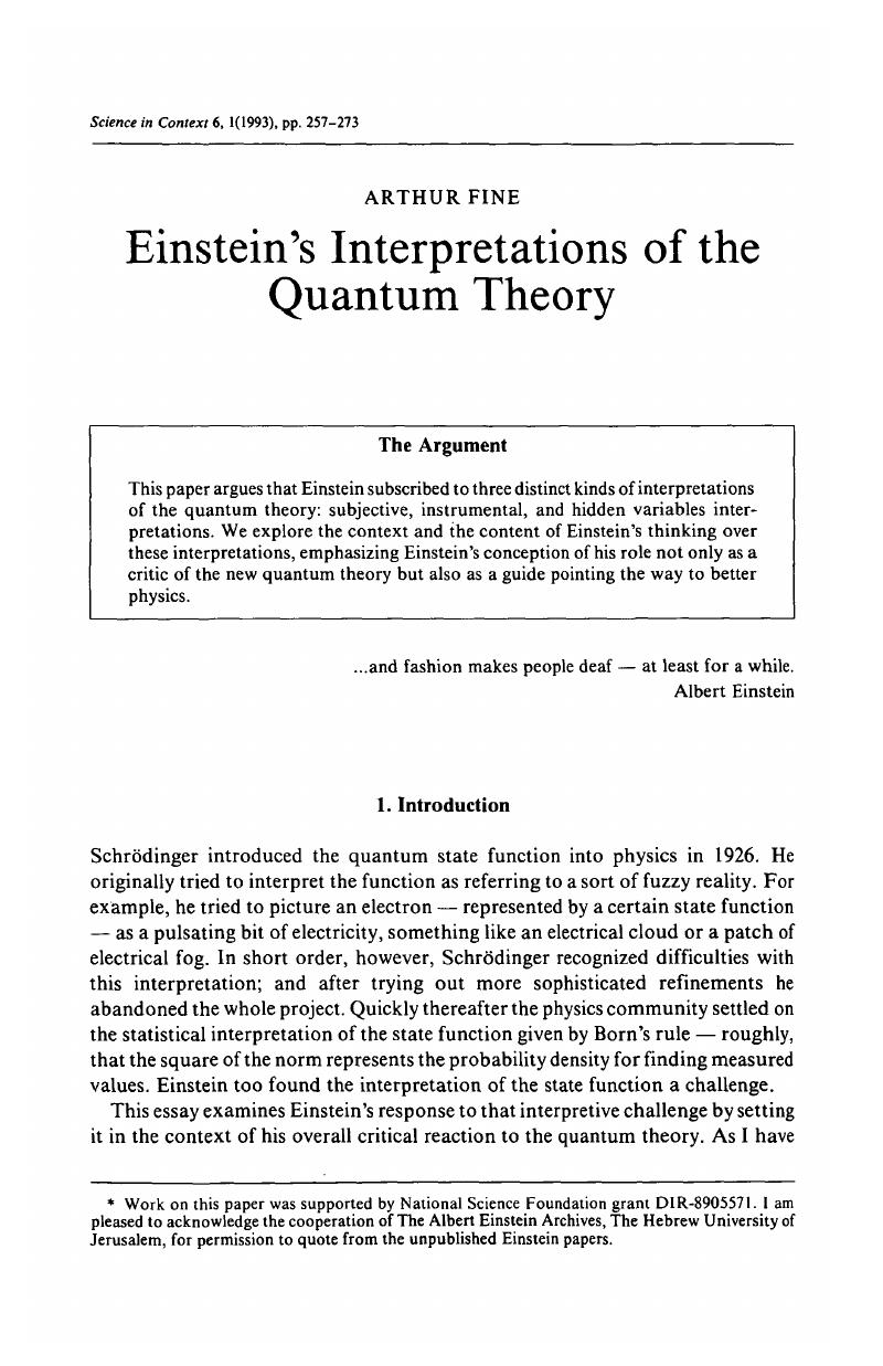 Einsteins Interpretations Of The Quantum Theory Science In