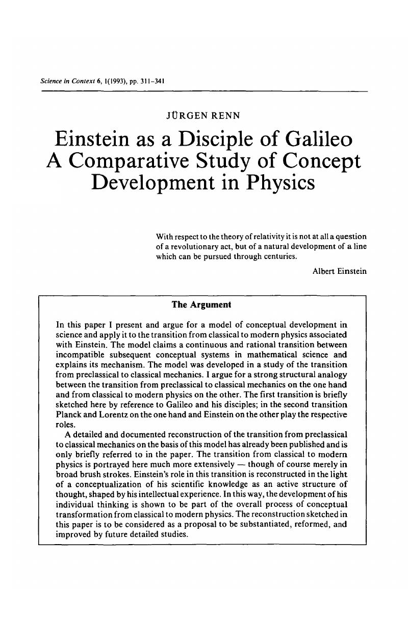 Einstein as a Disciple of Galileo A Comparative Study of