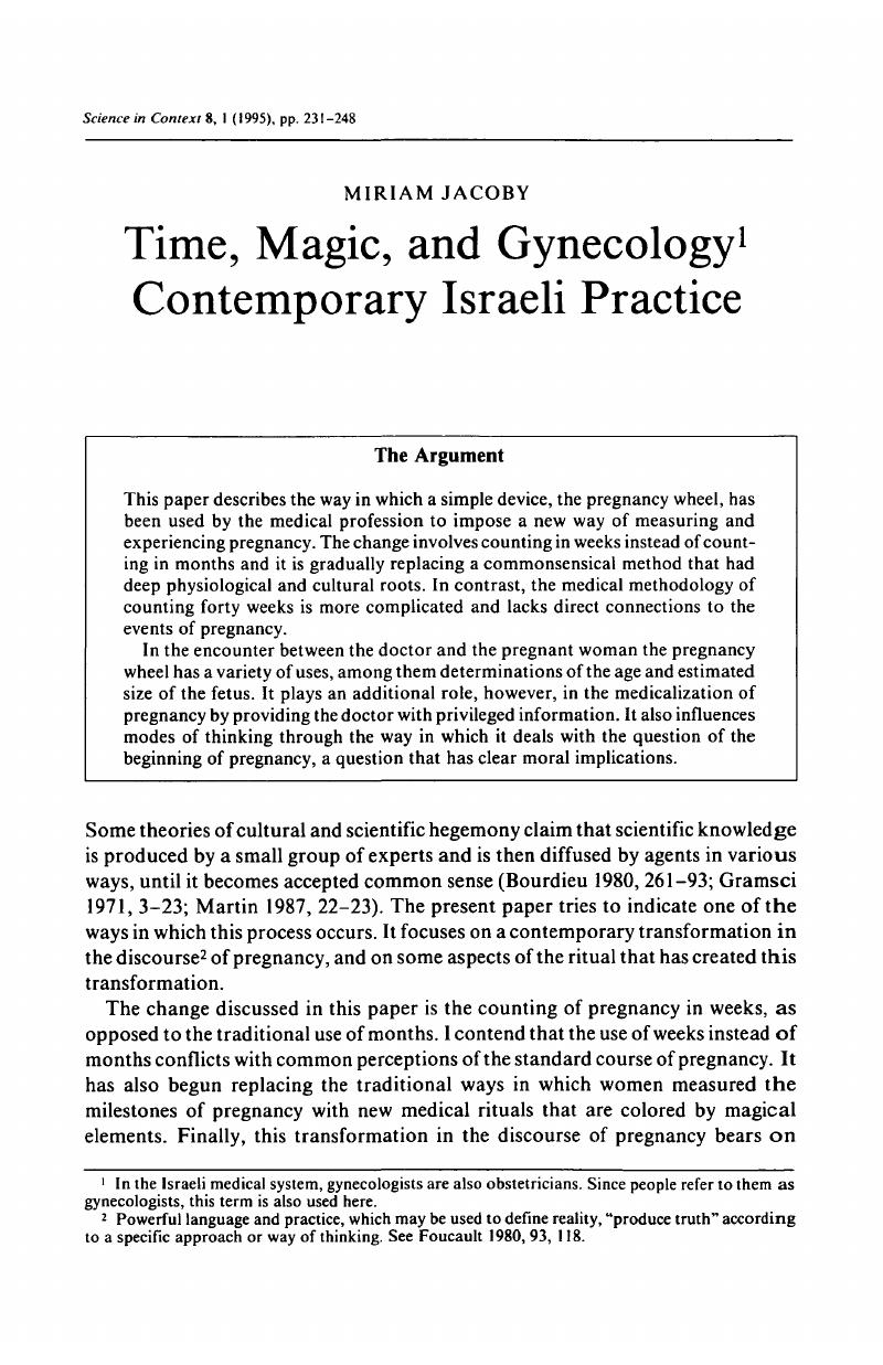 Time, Magic, and Gynecology1 Contemporary Israeli Practice