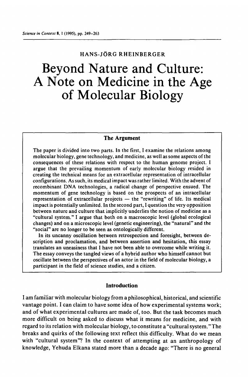 Beyond Nature and Culture: A Note on Medicine in the Age of
