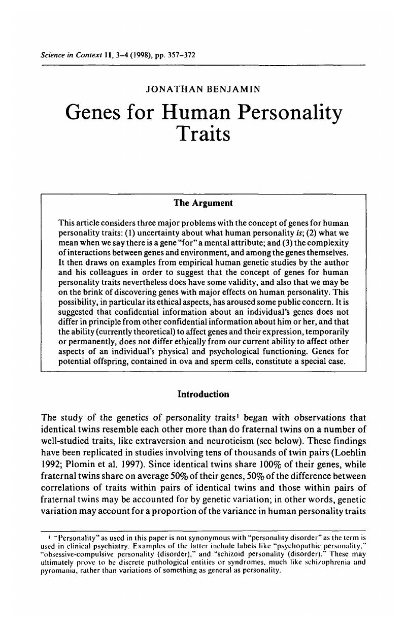 Genes for Human Personality Traits   Science in Context