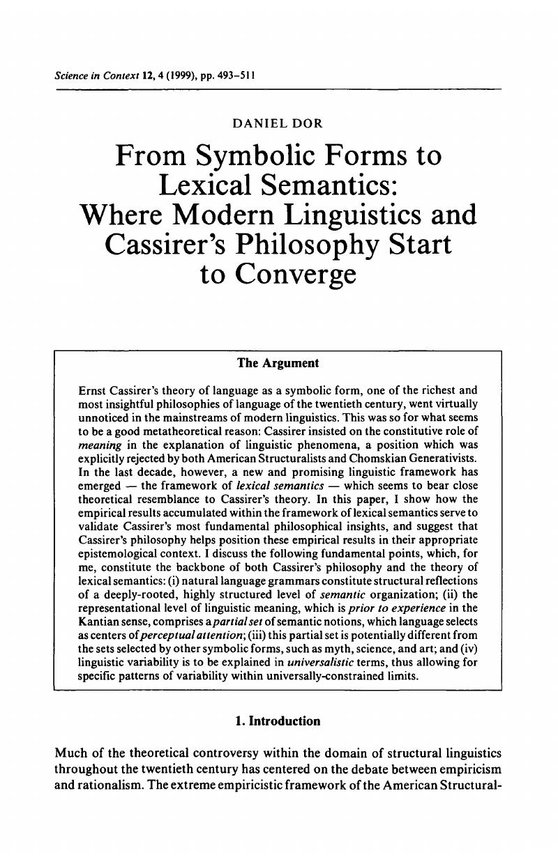 From Symbolic Forms To Lexical Semantics Where Modern Linguistics
