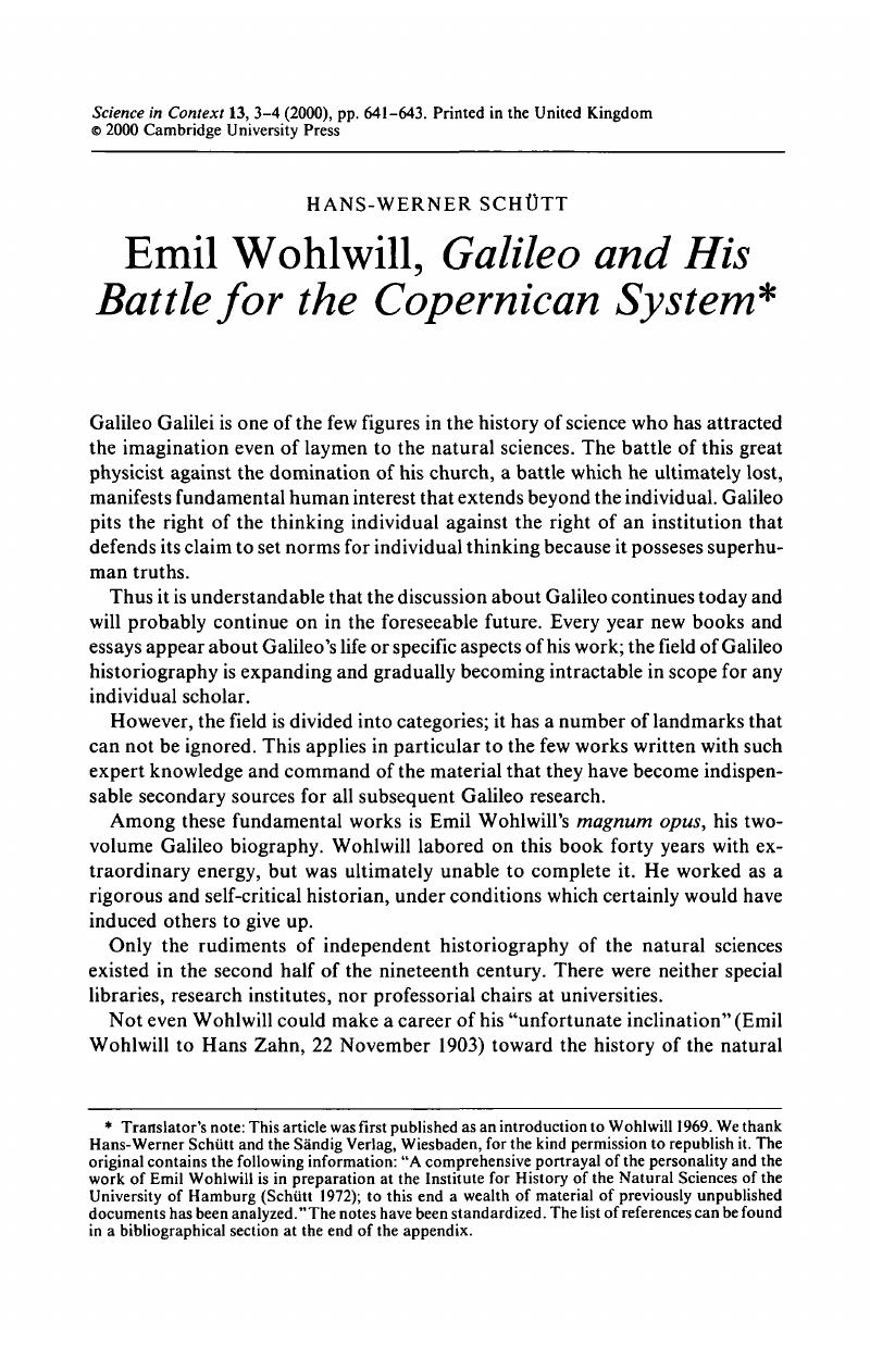 Emil Wohlwill, Galileo and His Battle for the Copernican System