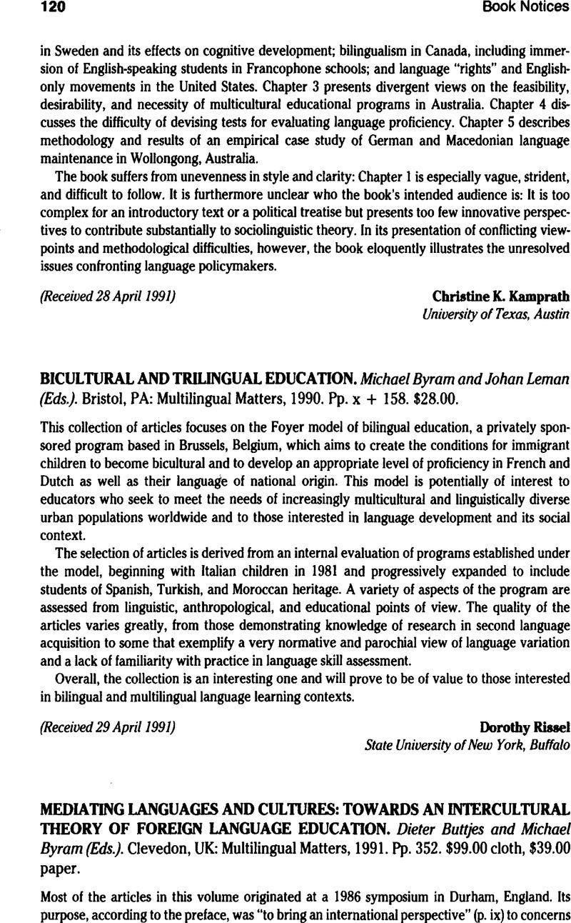 MEDIATING LANGUAGES AND CULTURES: TOWARDS AN INTERCULTURAL
