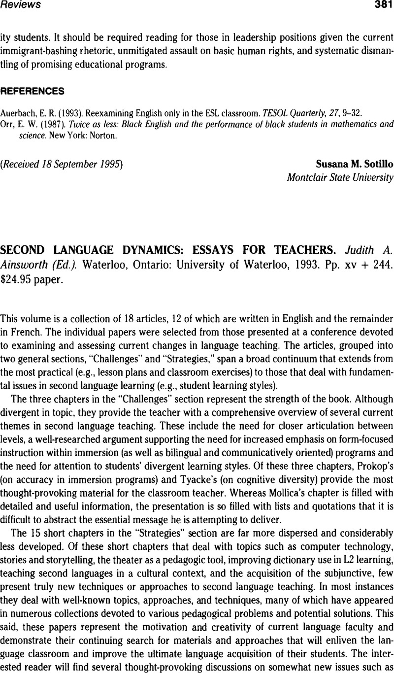 Second Language Dynamics Essays For Teachers Judith A Ainsworth  Captcha
