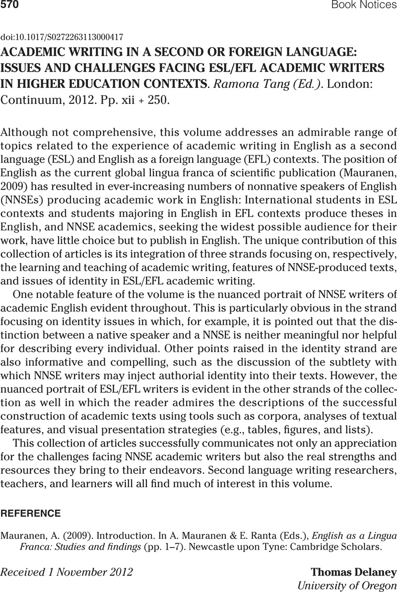 ACADEMIC WRITING IN A SECOND OR FOREIGN LANGUAGE: ISSUES AND ...